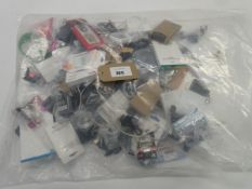 Bag containing quantity of mobile phone accessories; cables, adapters, earphones, chargers, etc