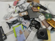 Bag containing quantity of various cases, clips, wires, cables, styluses, wrist straps etc