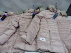 Three ladies full zipped fur hood Andrew Mark coats in pink size L