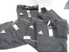 Five mens black Adidas jumpers size range from XL to XXL