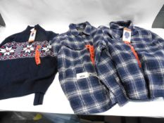 Mens Weatherproof jumper in navy size M, plus 2 mens Jack New York chequered button fleeces in
