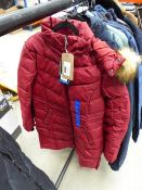Ladies full zip fur hooded Heritage coat size L