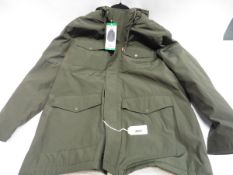 Mens full zipped hooded Levi coat in green size XL