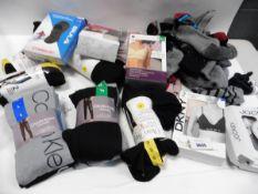 Lot containing some loose pairs of socks, ladies Calvin Klein joggers, leggings, bras etc