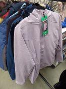3 mixed assorted jackets; Ladies light purple Kirkland size XL, mens Kirkland jacket size M and a