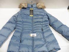 Ladies full zip fur hooded Andrew Mark coat size S in blue