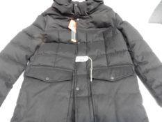 Mens full zipped hooded black Andrew Mark coat, size M