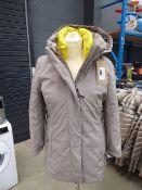 Ladies full zip hooded DKNY coat size S (worn)