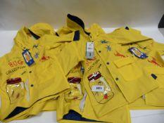 Six children's boys yellow rain coats