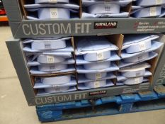 Tray containing approx 32 men's Kirkland custom fit shirts in light blue