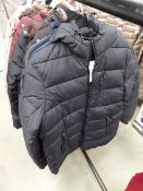 Full zip Harvey and Jones jacket in blue size L plus another hooded coat size M