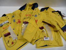 Five children's boys yellow rain coats