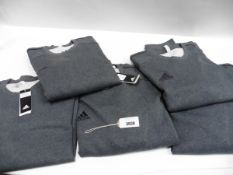Five mens grey Adidas jumpers size XXL