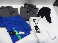 Lot containing a mens Callaway gold polo top size XL, mens regular fit Hugo Boss polo top, pair of