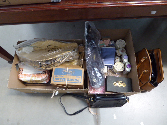 2 boxes containing handbags, a petty cash box, wine glasses and a painted shelf