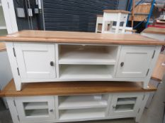 White painted oak top small TV audio cabinet with 2 shelves and 2 single door cupboard (6)