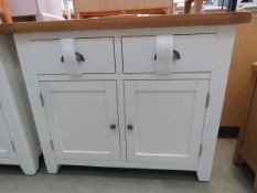 White painted oak top sideboard with 2 drawers and 2 single door cupboards (57)