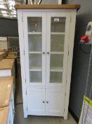 White painted oak top glazed display cabinet with 2 door cupboard (45)