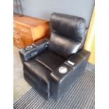5213 - Black leather effect electric reclining armchair