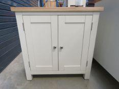 Cream painted oak top 2 door cupboard