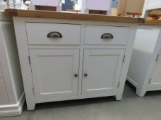 White painted oak top sideboard with 2 drawers and 2 single door cupboards (43)