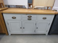 Grey painted sideboard with oak top 3 drawers and 3 cupboards under (4)
