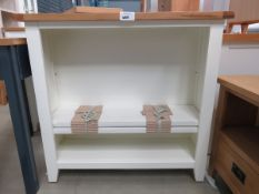 White painted oak top open front bookcase (49)