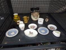Cage containing Wedgwood and Royal Worcester trinket bowls plus jasperware and character jugs
