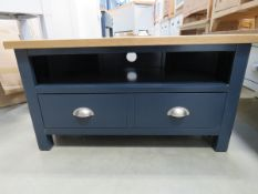 Blue painted oak top corner TV audio unit with shelf and large single drawer