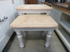 Grey painted oak top nest of 2 tables (164)