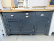 Blue painted sideboard with oak top 3 drawers and 3 cupboards under (2)