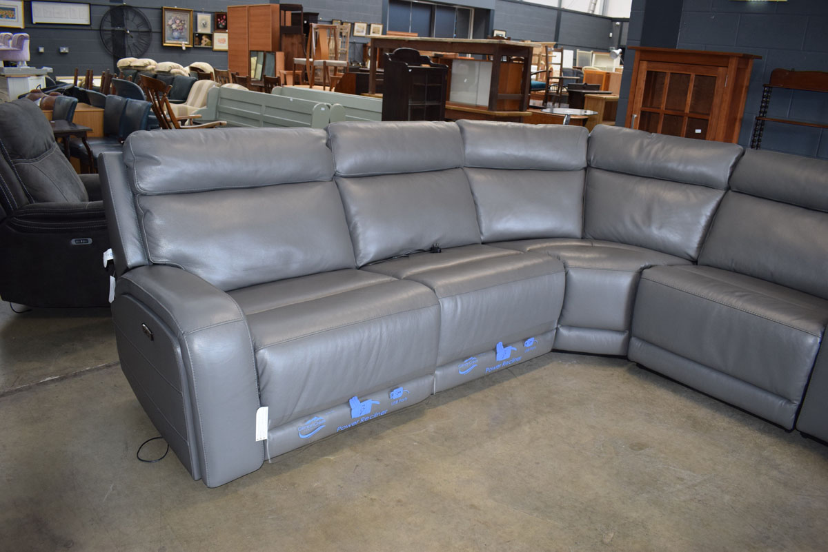 Grey leather effect modular 6 piece corner suite - Image 3 of 9