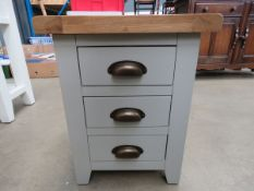 Grey painted oak top bedside chest of 3 drawers (3)