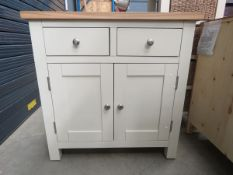 Cream painted oak top small sideboard with 2 drawers and double door cupboard (134)