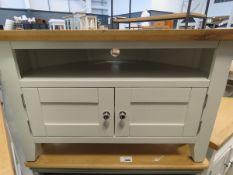 Cream painted oak top large corner TV audio unit with shelf and double door cupboard (1)