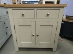 Cream painted oak top small sideboard with 2 drawers and double door cupboard (96)