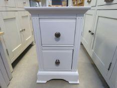 Blue painted 2 drawer bedside cabinet