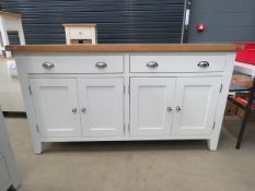 Cream painted oak top large sideboard with 2 long drawers and 2 2 door cupboards (3)