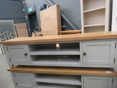 Grey painted oak top large TV audio unit with 2 shelves and 2 single door cupboards (51)