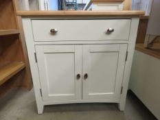 Cream painted oak top sideboard with single drawer and 2 door cupboard (148)