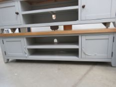 Grey painted oak top large TV audio unit with 2 shelves and 2 single door cupboards (53)