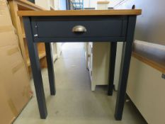 Blue painted side table with oak top and single drawer (151)