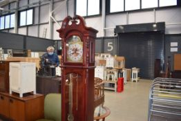 A modern mahogany cased grandfather clock by C. Wood & Son Working order unknown