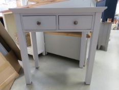 Blue painted dressing table with 2 drawers (158)