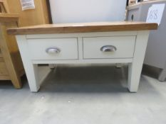 Cream painted oak top coffee table with 4 drawers (160)