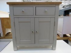 Grey painted oak top small sideboard with 2 drawers and a double door cupboard (40)
