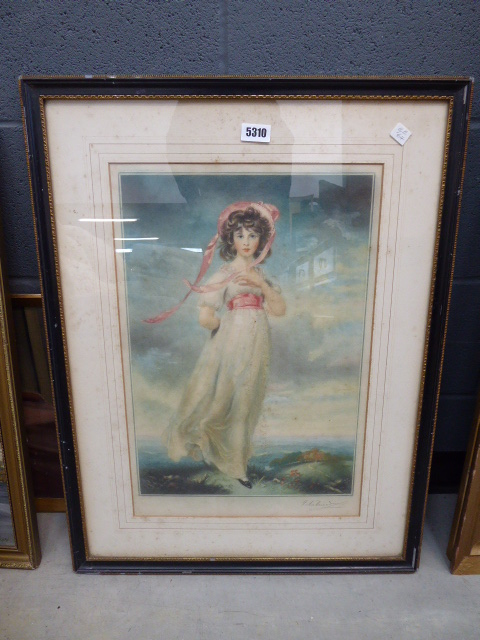Framed and glazed print of young lady in pink bonnet