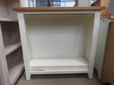 Cream painted oak top open front bookcase (166)