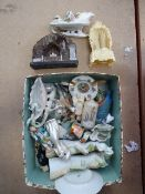 Box containing china figures and ornaments
