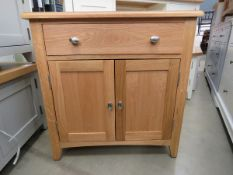 Small oak sideboard with single drawer and double door cupboard (162)